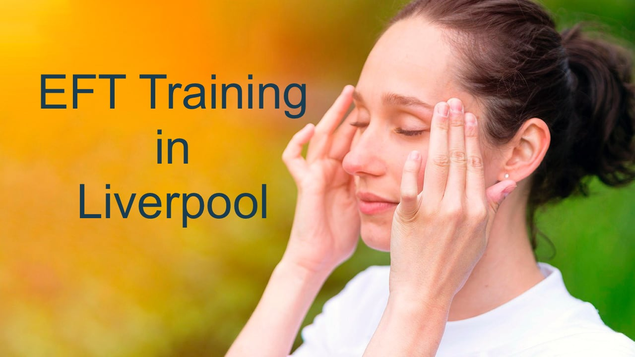 EFT Training in Liverpool - a woman tapping on the sides of the eyes