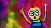 Digitally created colourful painting of a cartoon character screaming with his hands in the air. - intrusive thoughts