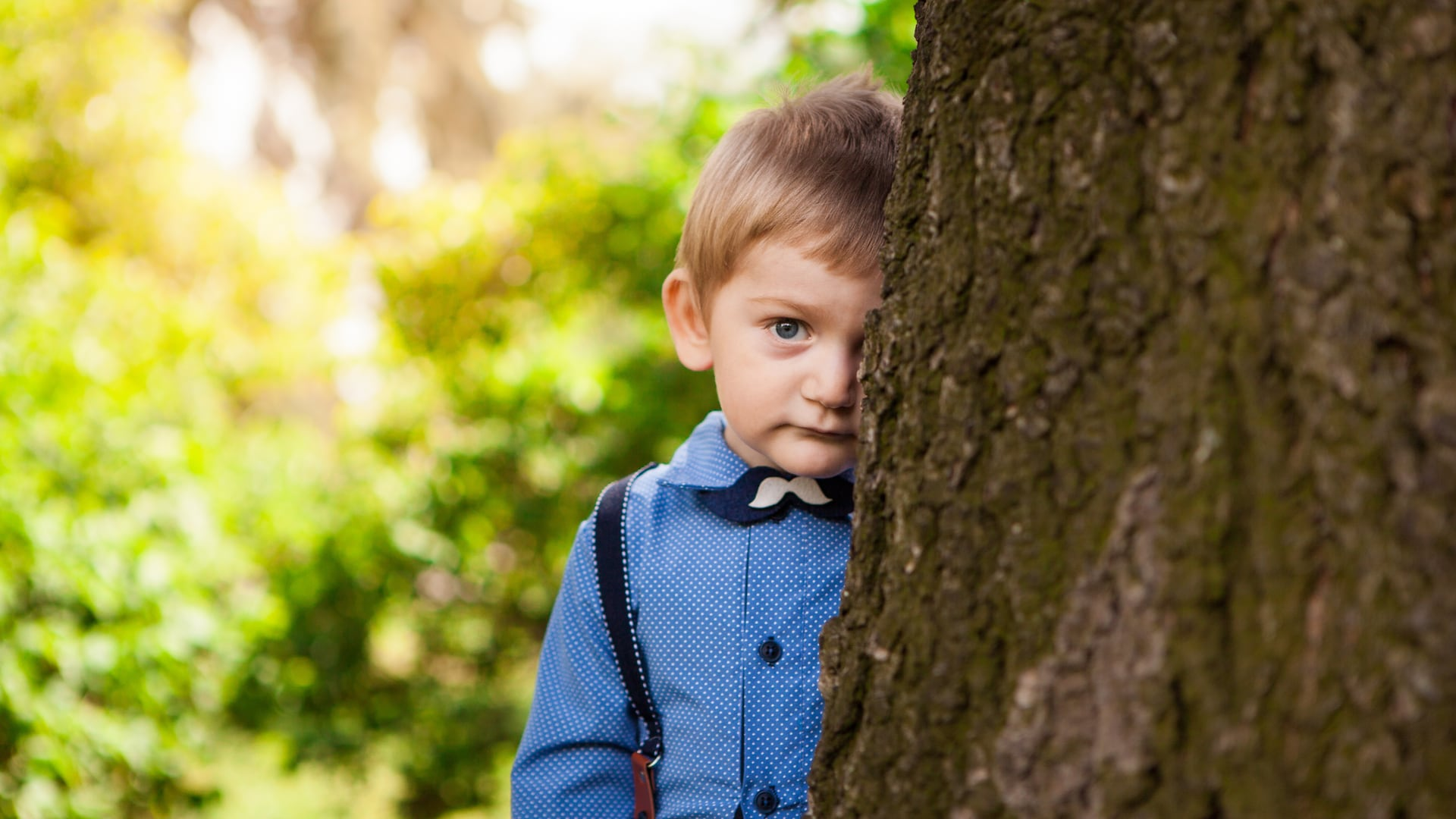 A say child looking out from behind a tree