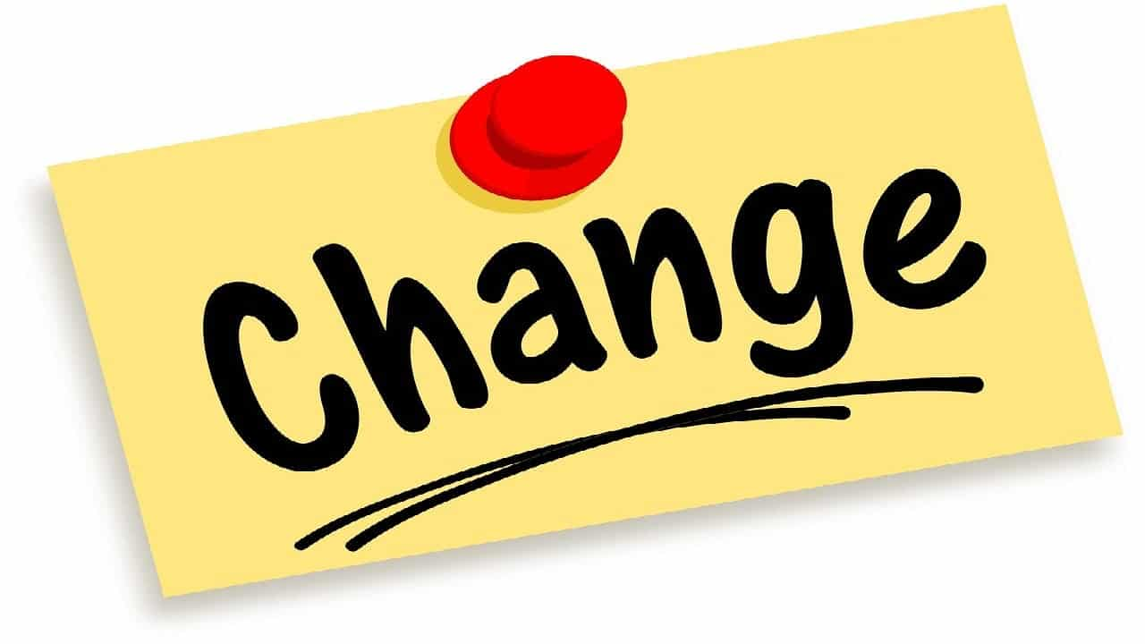 The word 'change' written on a yellow paper pinned with a red pin - cope with change